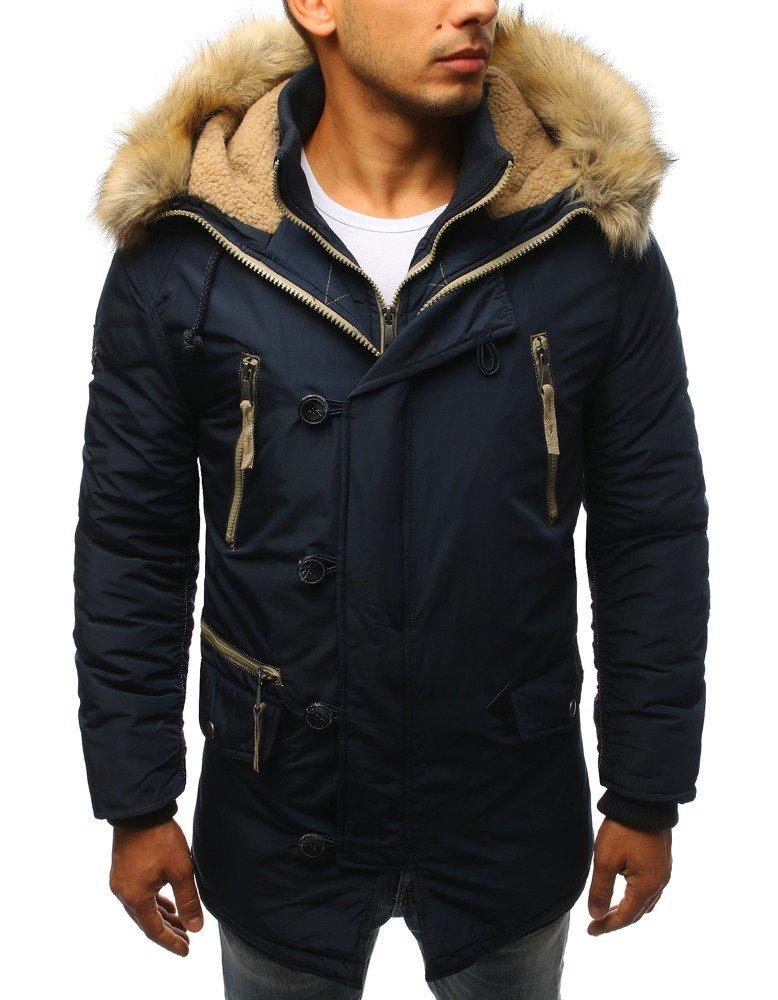 Pánska zimná bunda s kapucňou tmavomodrá