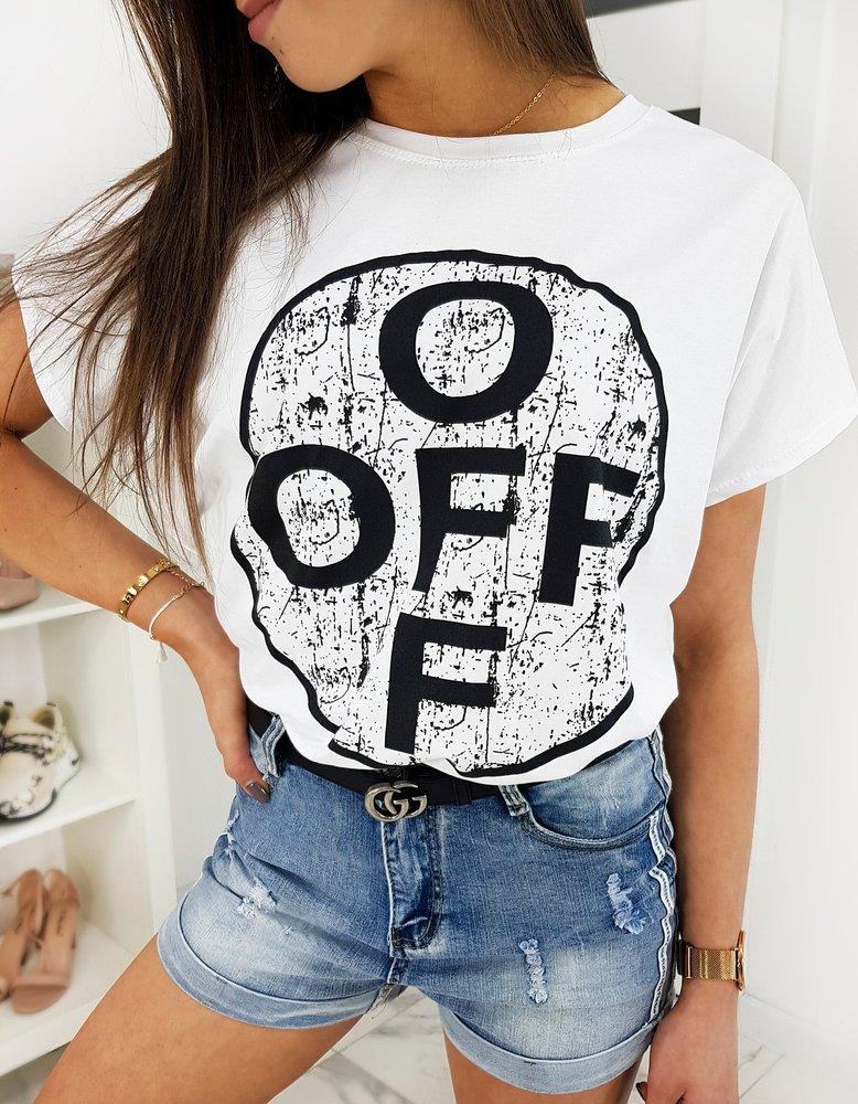 T-shirt damski OFF biały RY1389