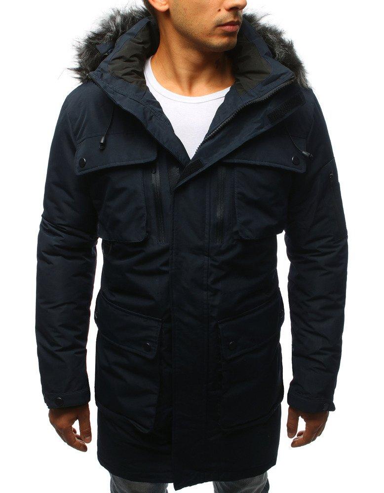 Tmavomodrá pánska bunda na zimu (tx2359)