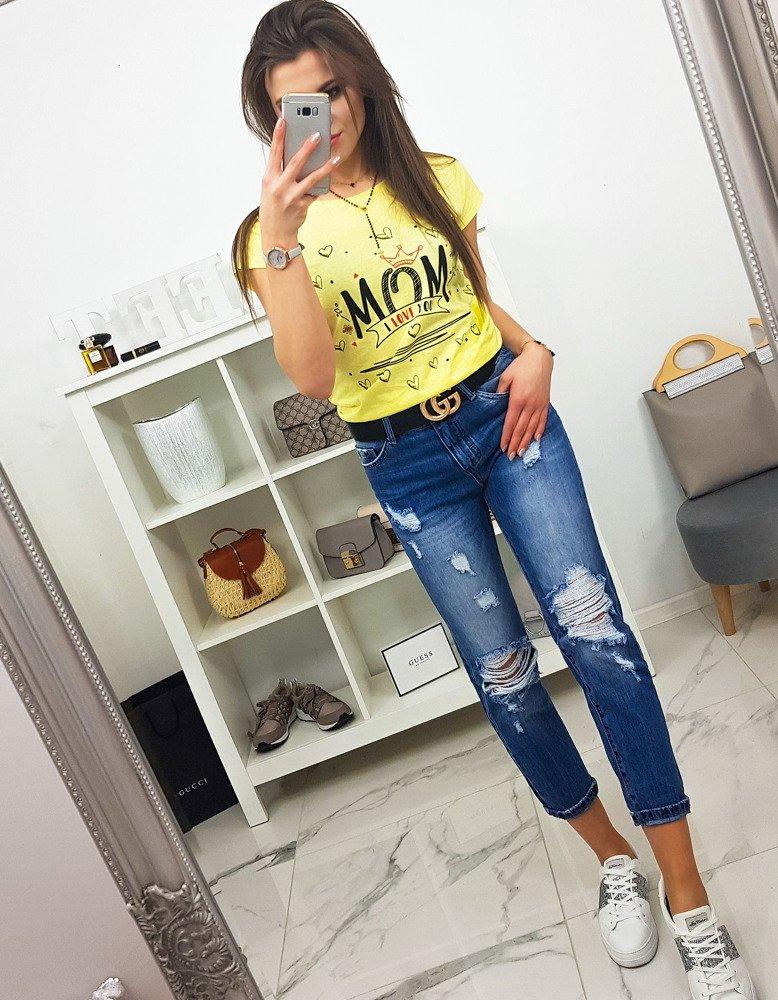 T-shirt damski MOM z nadrukiem cytrynowy (ry0791)