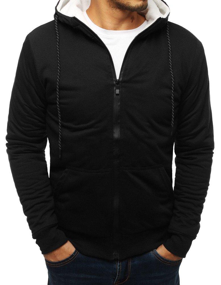 Bluza męska rozpinana z kapturem czarna BX4137