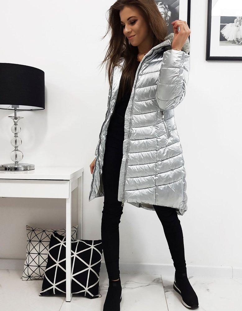 Dámska zimná prešívaná bunda strieborná