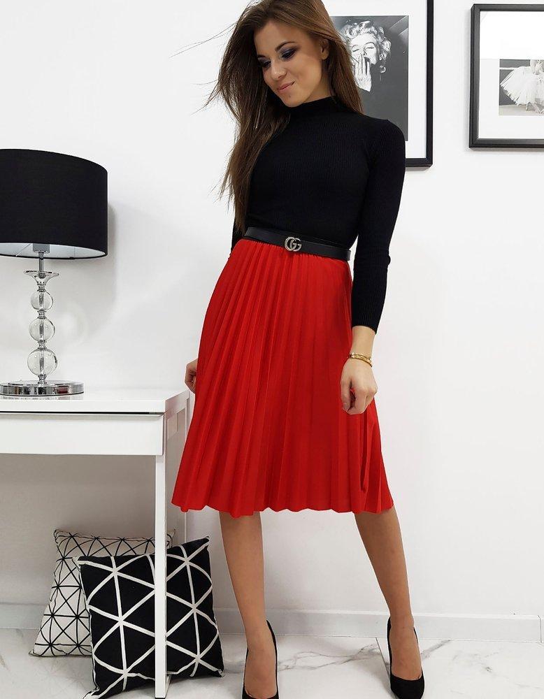 Plisovaná sukňa červena