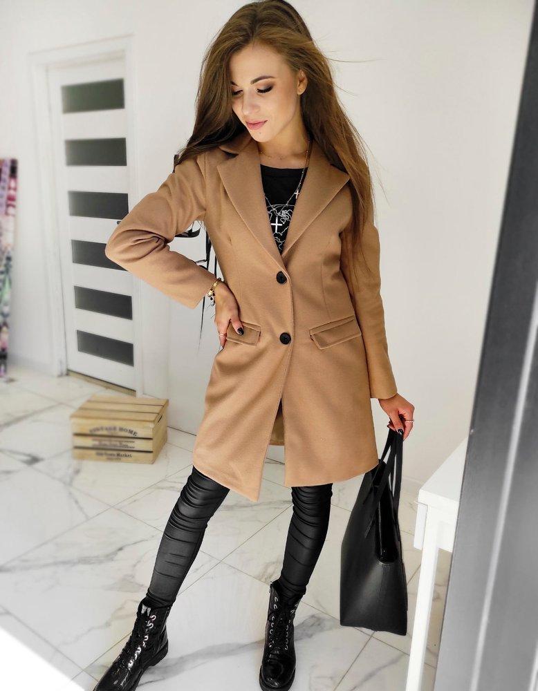 Płaszcz damski jednorzędowy DIVA kamelowy NY0386