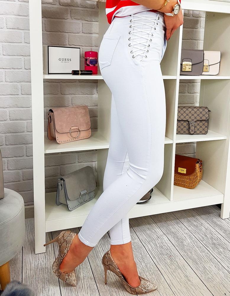 Spodnie jeansowe damskie FASHION DENIM skinny białe UY0168