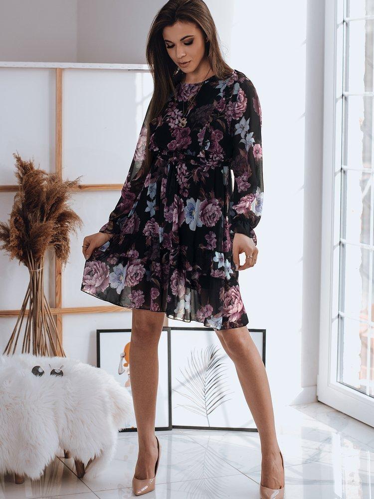 Čierne vzorované šaty s volánikmi