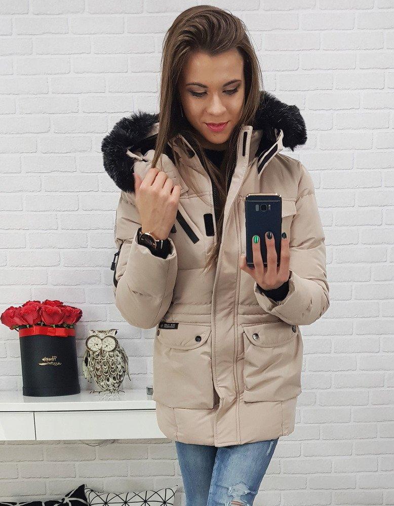 Béžová zimná dámska bunda (ty0470)