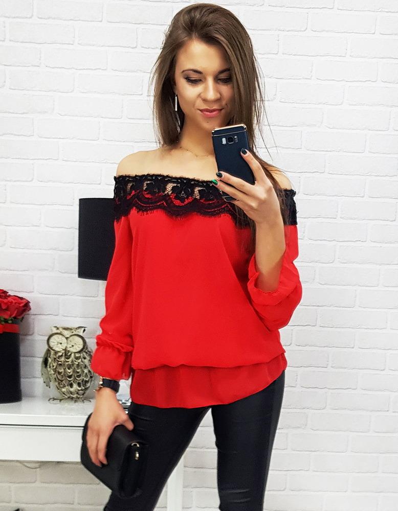 Czerwona bluzka damska ARANDA (ry0588)