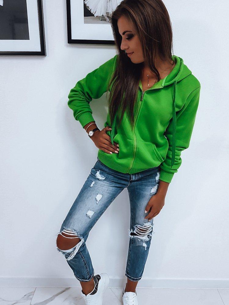 Bluza damska rozpinana z kapturem zielona BY0233