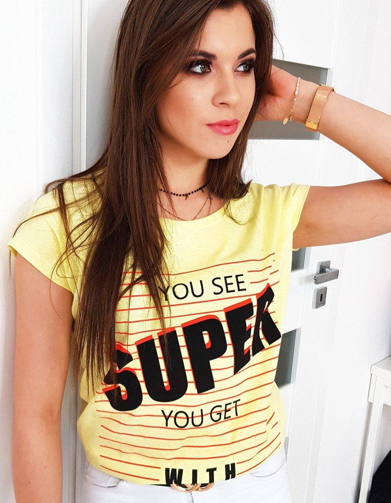 T-shirt damski z nadrukiem cytrynowy RY0993