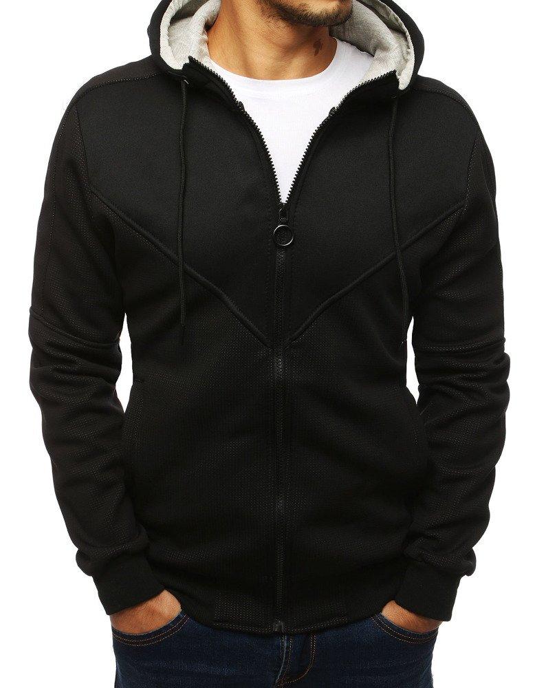 Bluza męska rozpinana z kapturem czarna BX4141