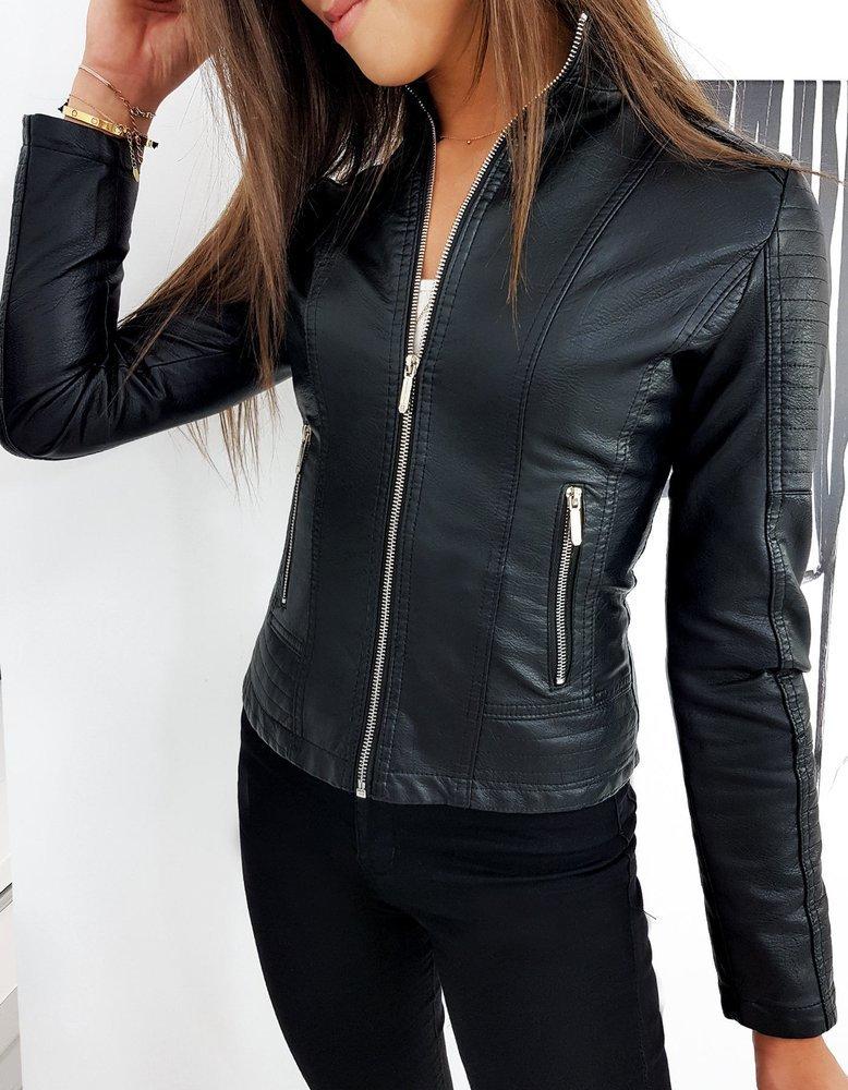 Čierna dámska koženková bunda SIMONTE TY1261