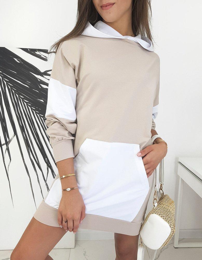 Béžové tunikové šaty