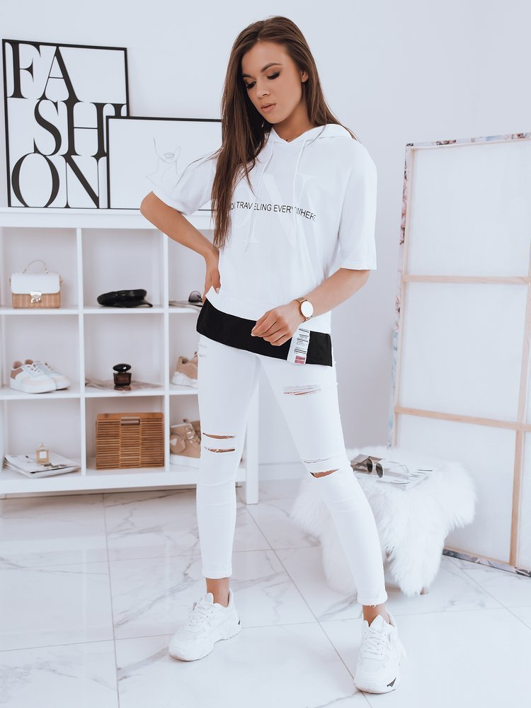 T-shirt damski oversize EVERYWHERE biały Dstreet RY1722