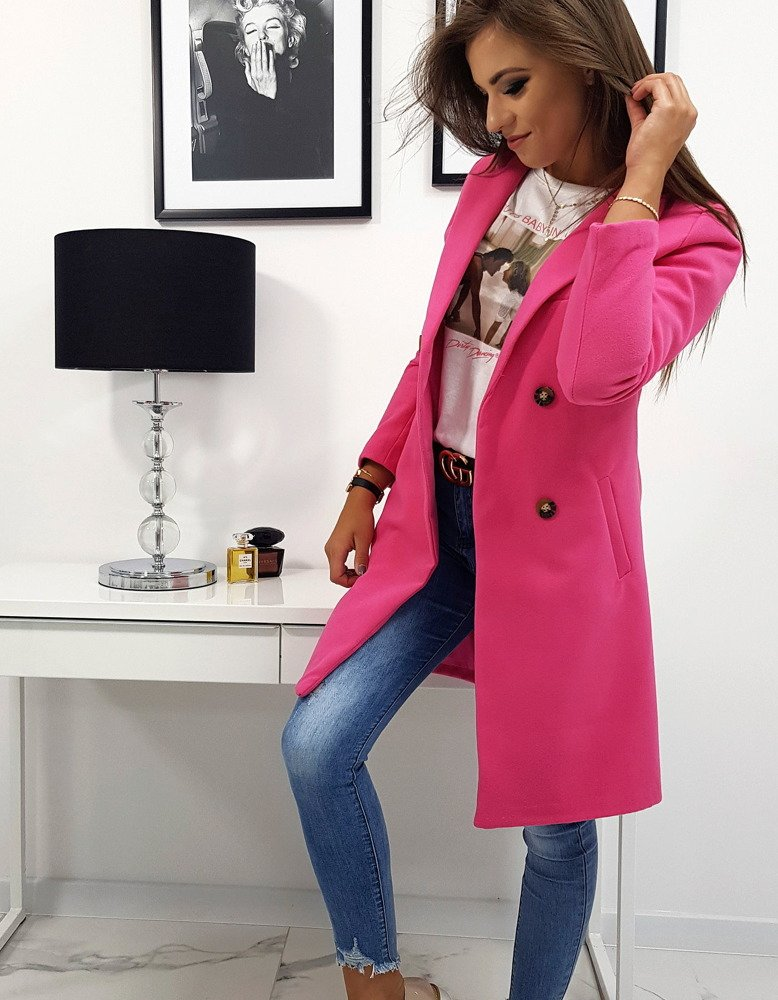 Ružový dámsky dvojradový kabát SOLEO (ny0229)