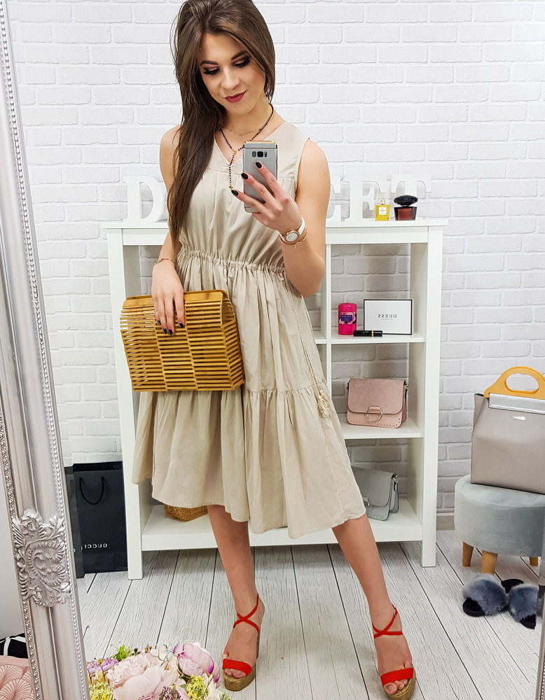 Sukienka ELEGANCE beżowa Dstreet EY0828