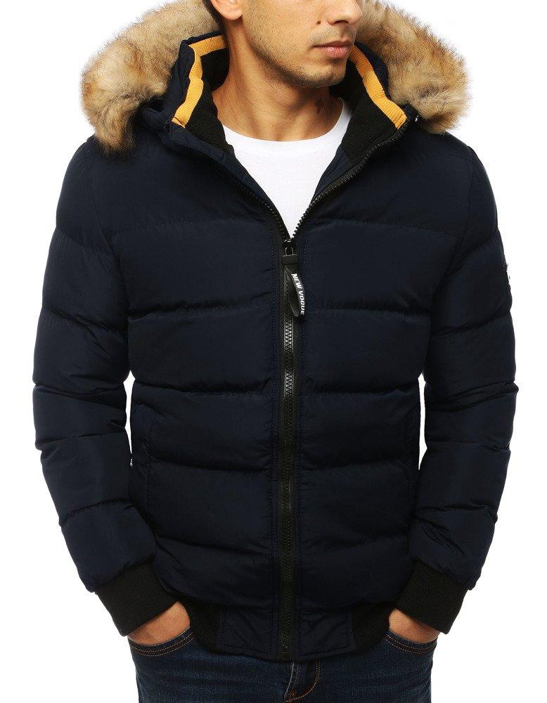 Pánska zimná prešívaná bunda s kapucňou námornícka modrá