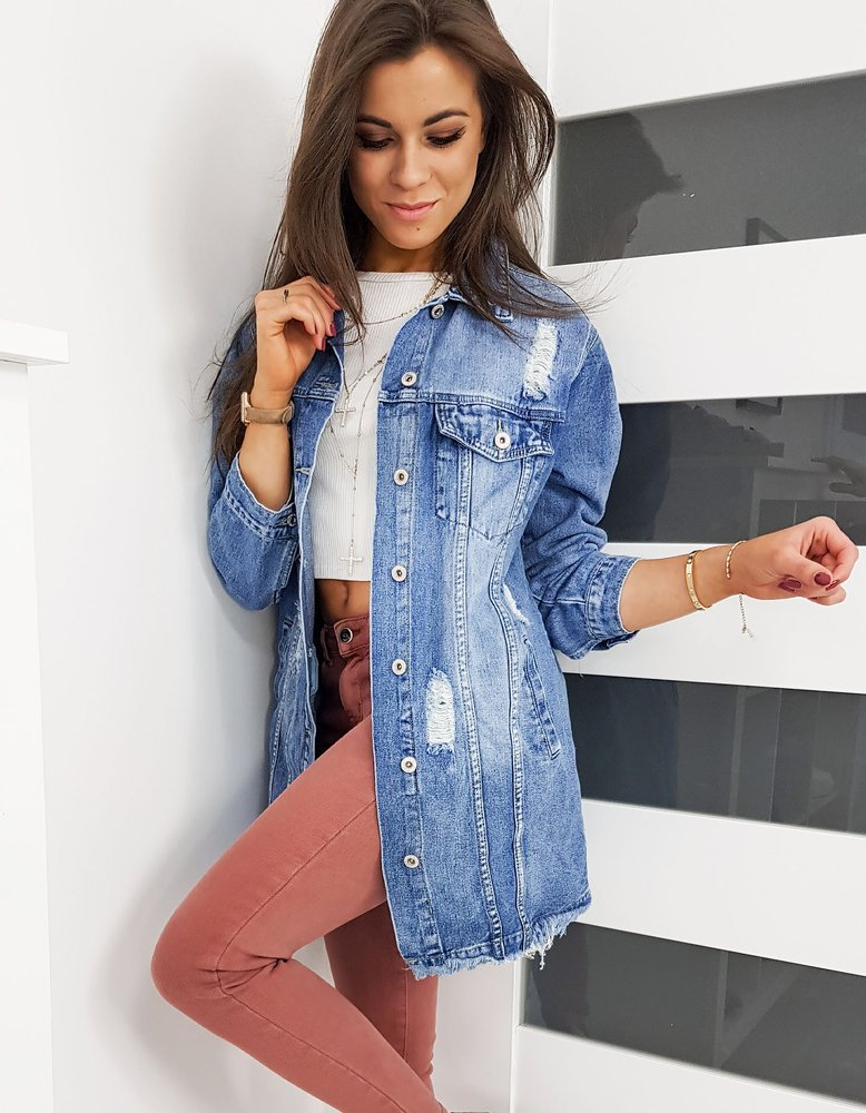 Kurtka damska jeansowa LONG II niebieska TY1088