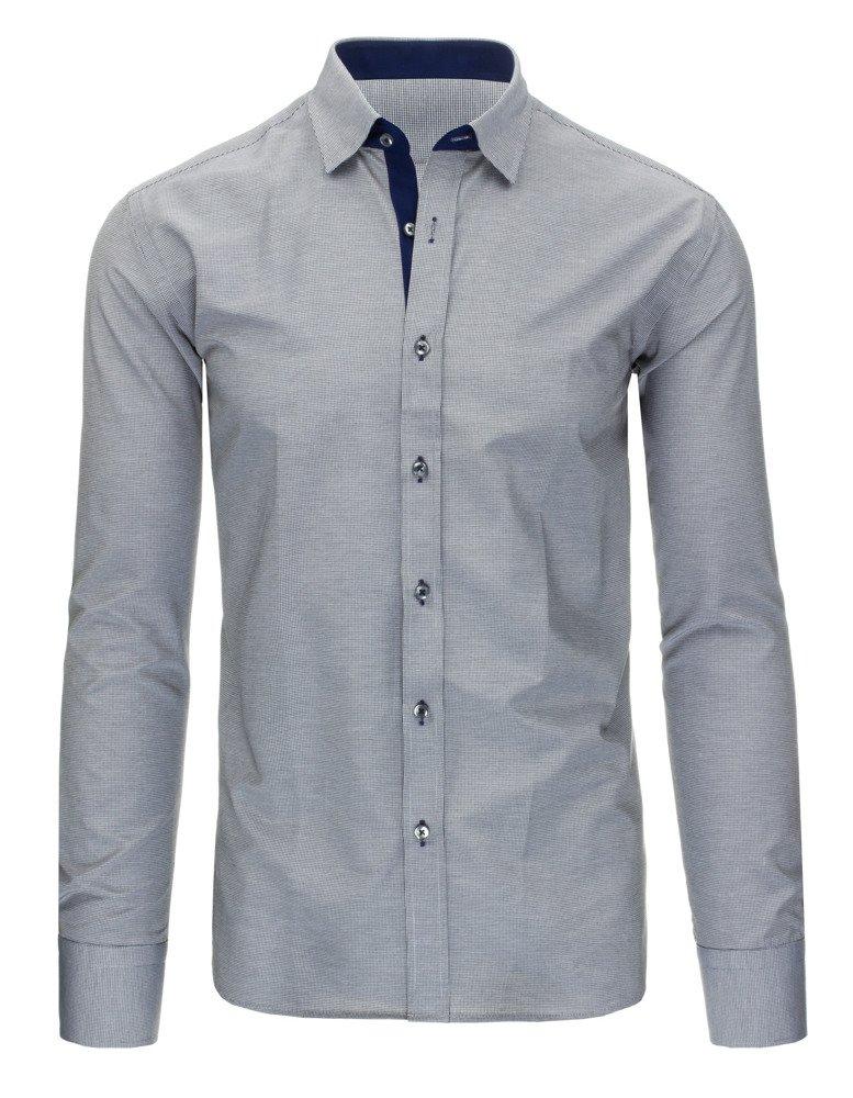 Czarno-biała koszula męska w kratę z długim rękawem DX1296