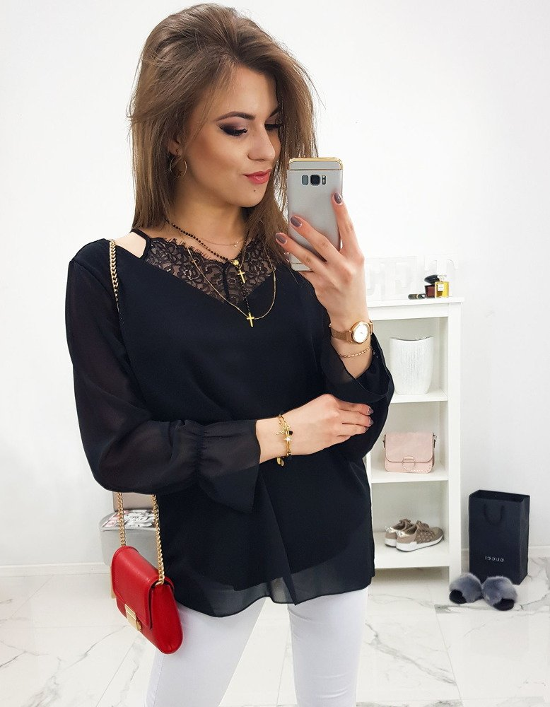 Czarna bluzka damska DOLLY (ry0608)