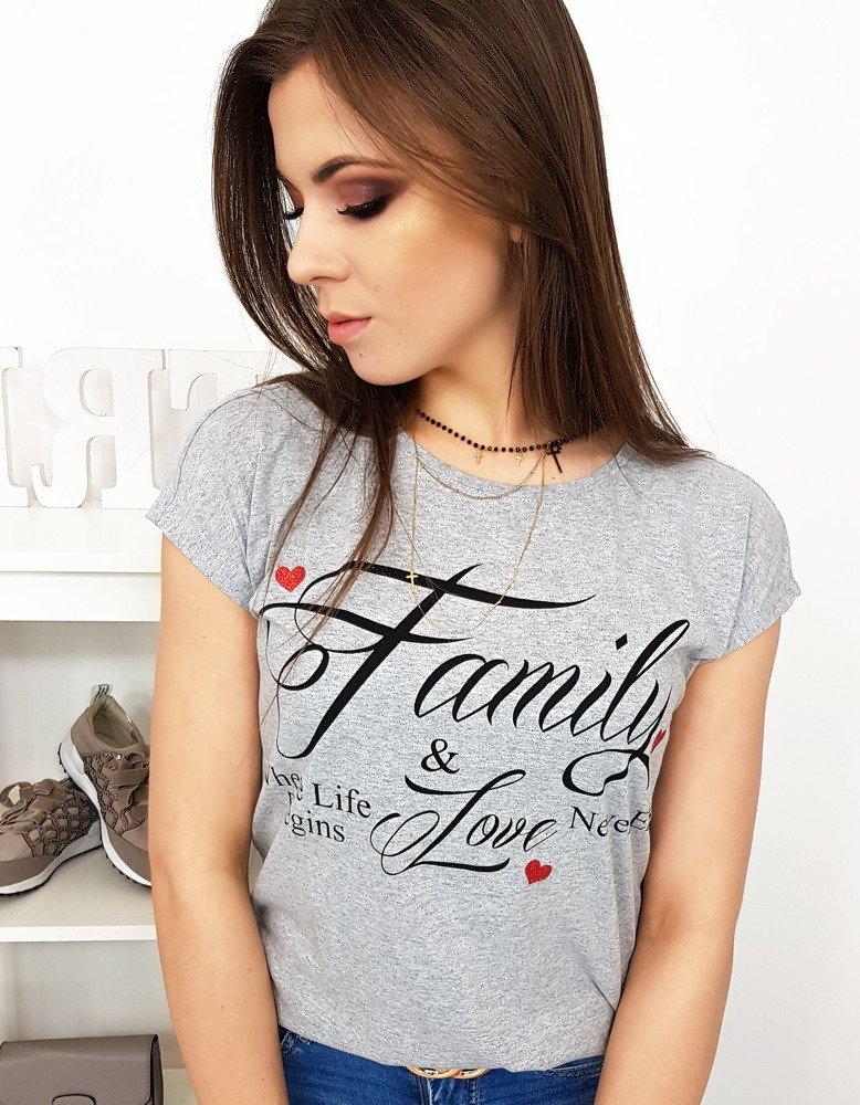 Svetlo-šedé trendy dámske tričko (ry1013)