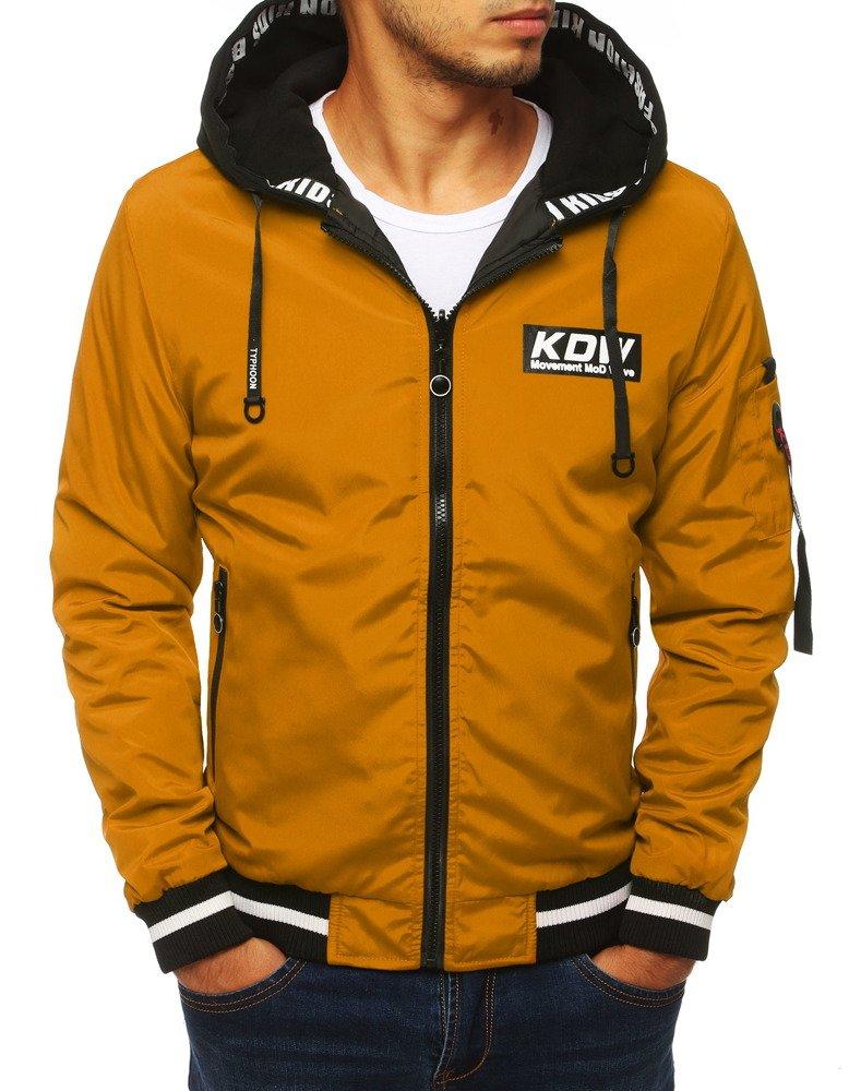 Obojstranná bunda horčicová s kapucňou