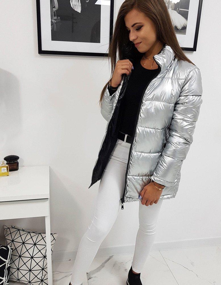 Dámska  zimná bunda metalicka strieborna