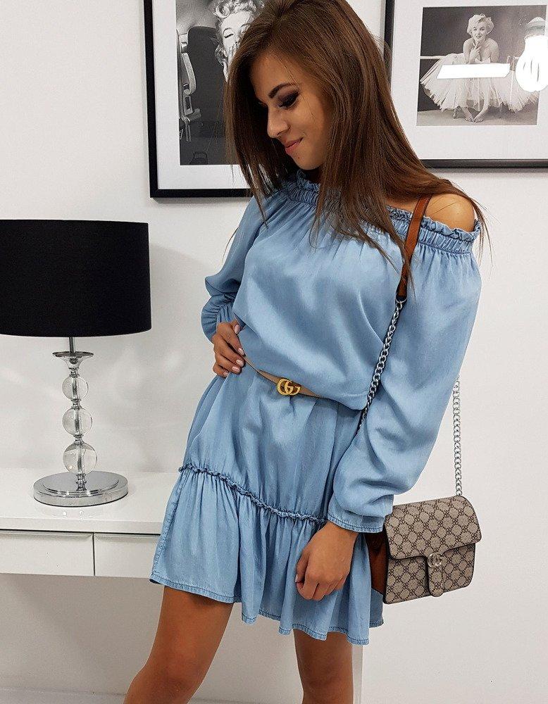 Dámske modré volánové šaty EVER (ey0815)