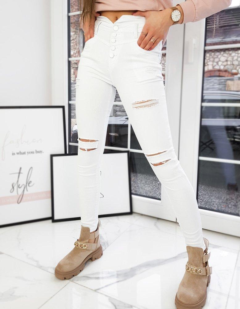 Spodnie damskie jeansowe NOVELIO białe UY0714