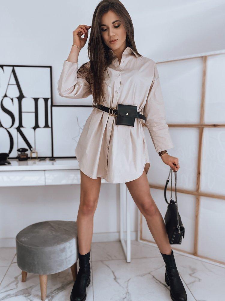 Koszulowa sukienka VOGA beżowa Dstreet EY1643