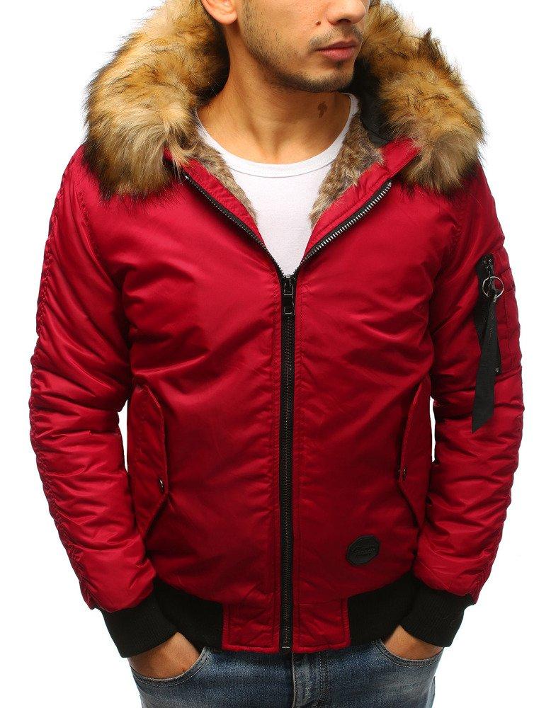 Červená pánska bunda s kapucňou tx2529