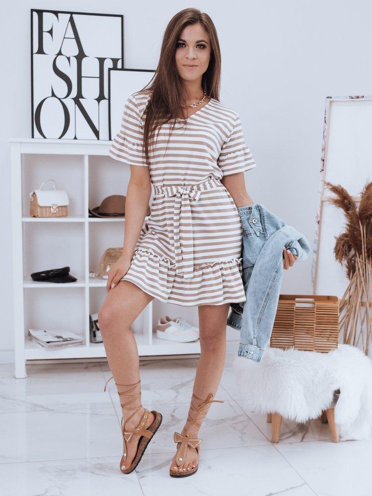 Béžovo biele pruhované šaty