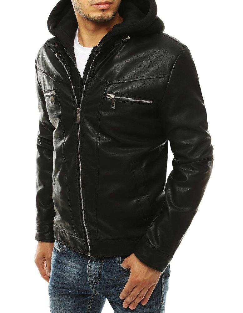 Čierna koženková bunda s kapucňou TX3301