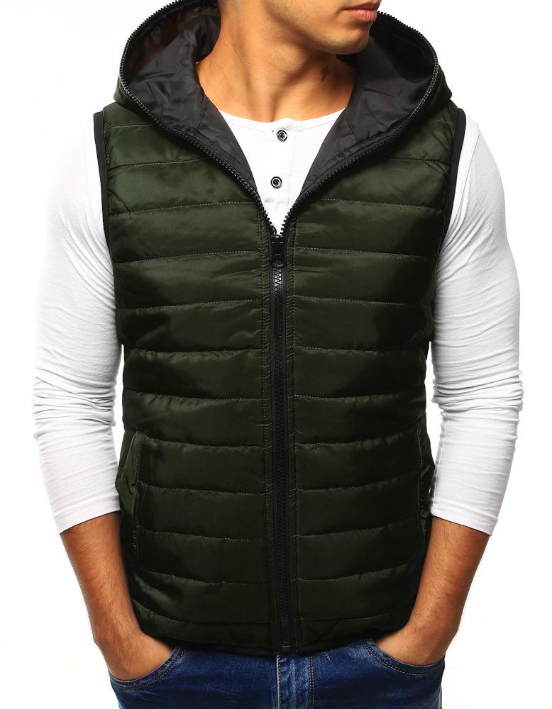 Pánska vesta s kapucňou zelená