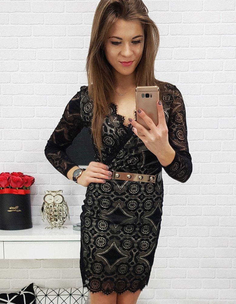 Dámske čierne čipkované šaty (ey0632)