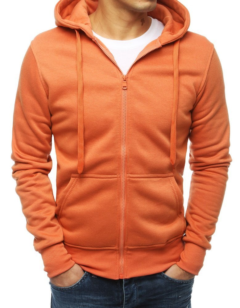 Oranžová pánska mikina na zapínanie (bx4250)