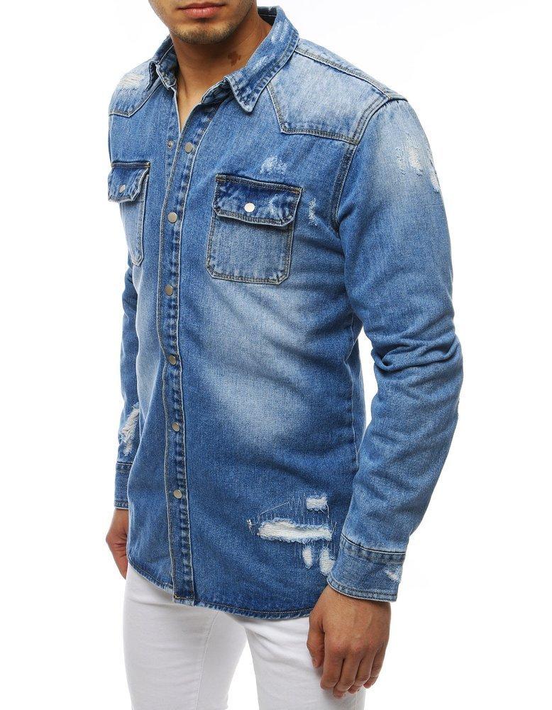 Riflová košeľa modrá