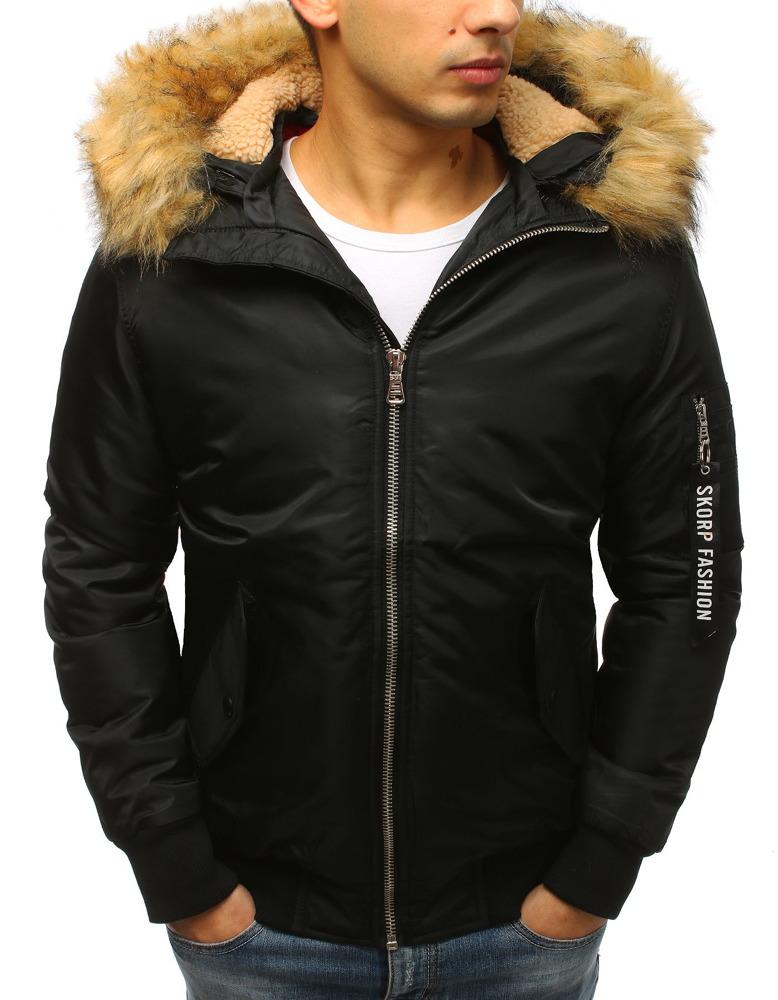 Čierna pánska bunda s kapucňou (tx2474)