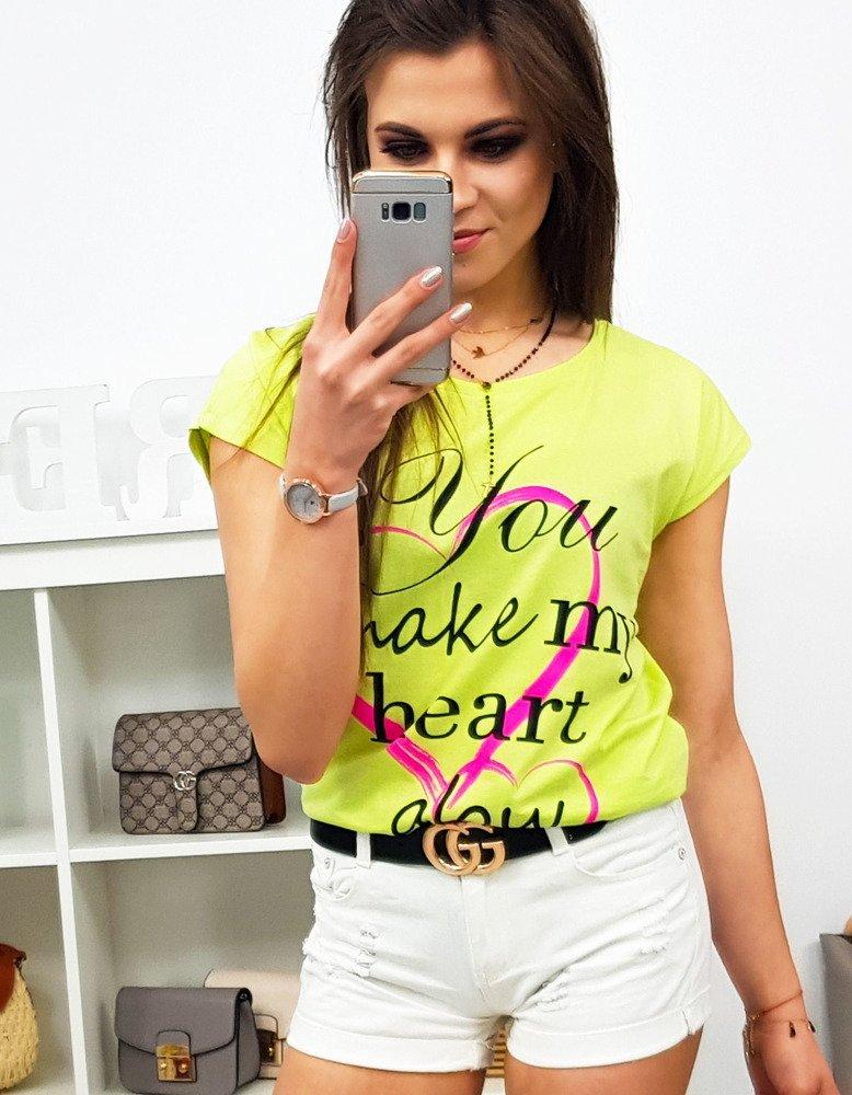 T-shirt damski HEART z nadrukiem limonkowy (ry0775)
