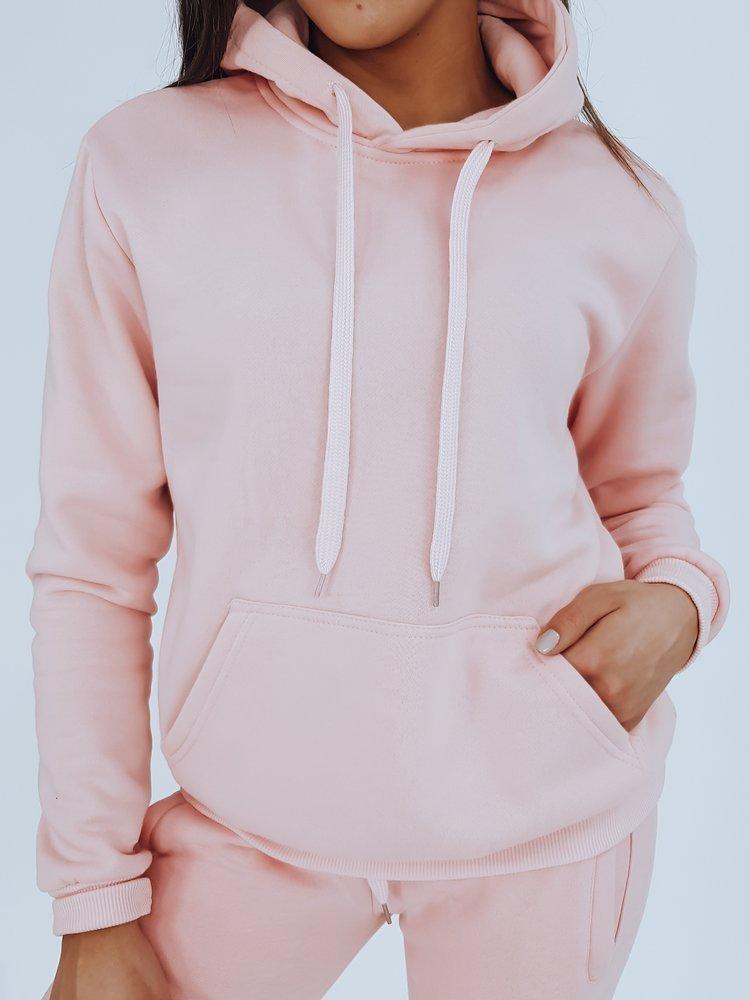Bluza damska BASIC z kapturem baby pink BY0284