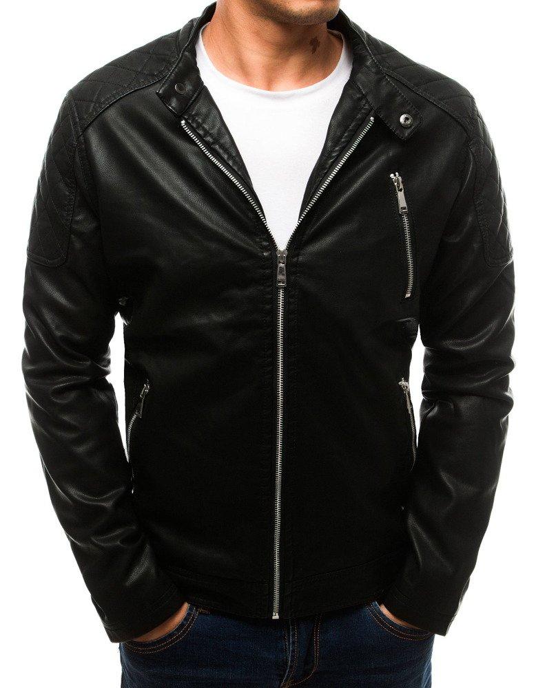 Pánska čierna koženková bunda (tx2710)