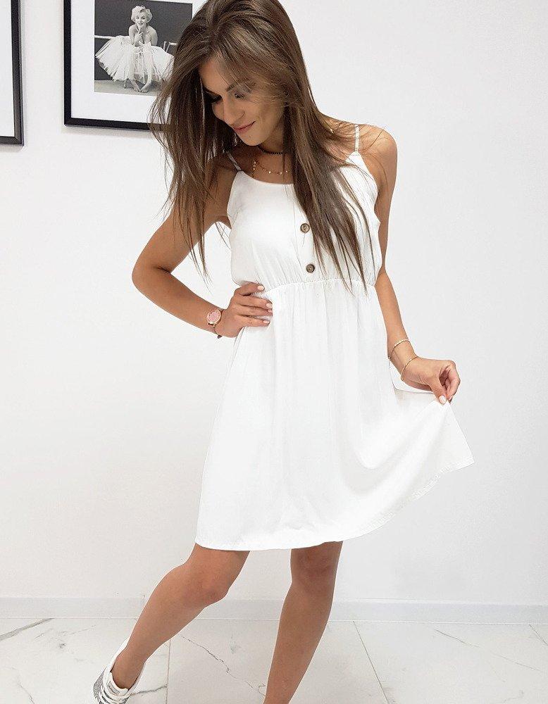 Biele dámske šaty na ramienka (ey0963)