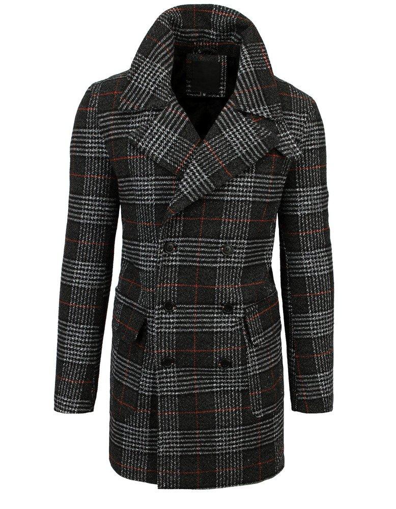 Čierny dvojradový pánsky károvaný kabát