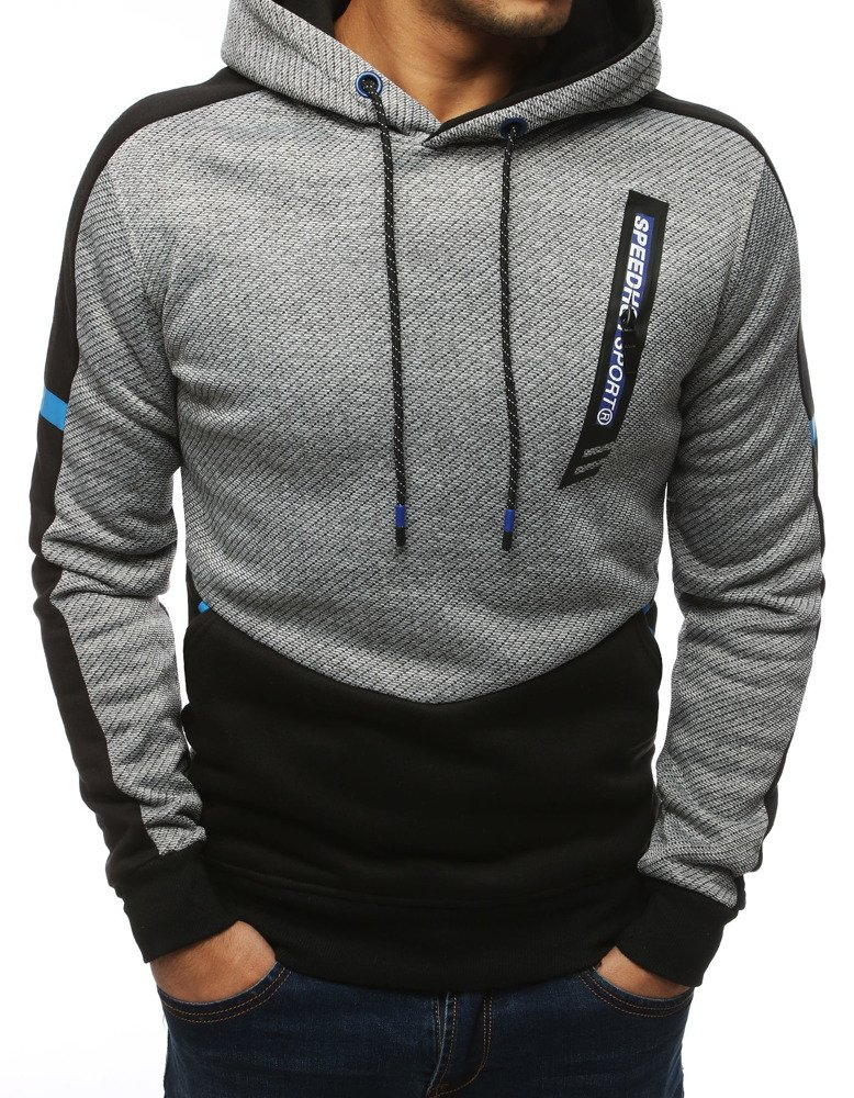 Bluza męska z kapturem jasnoszara BX4182