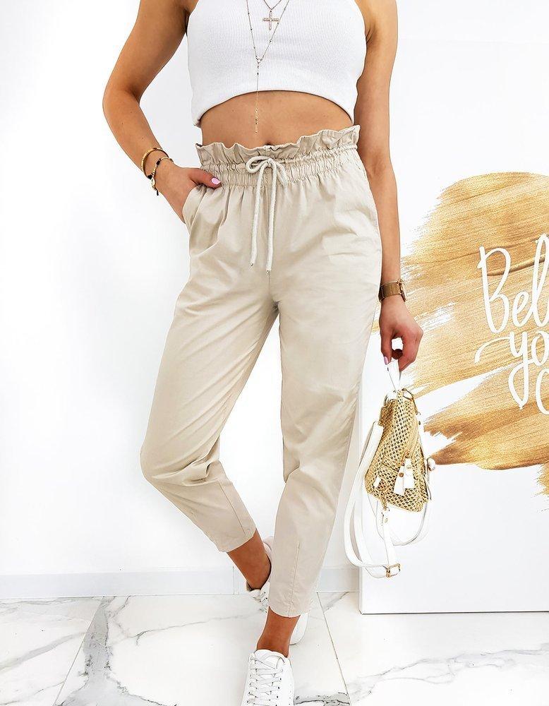 Spodnie damskie Mom Fit LEO jasnobeżowe UY0517