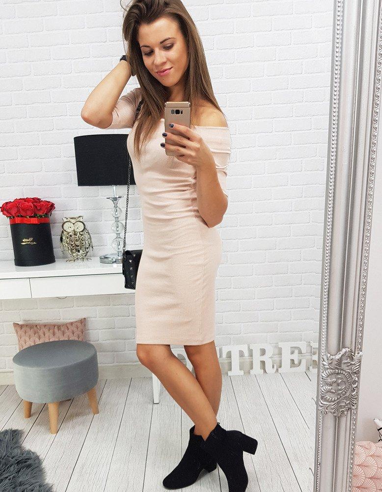 Dámske priliehavé ružové šaty (ey0279)