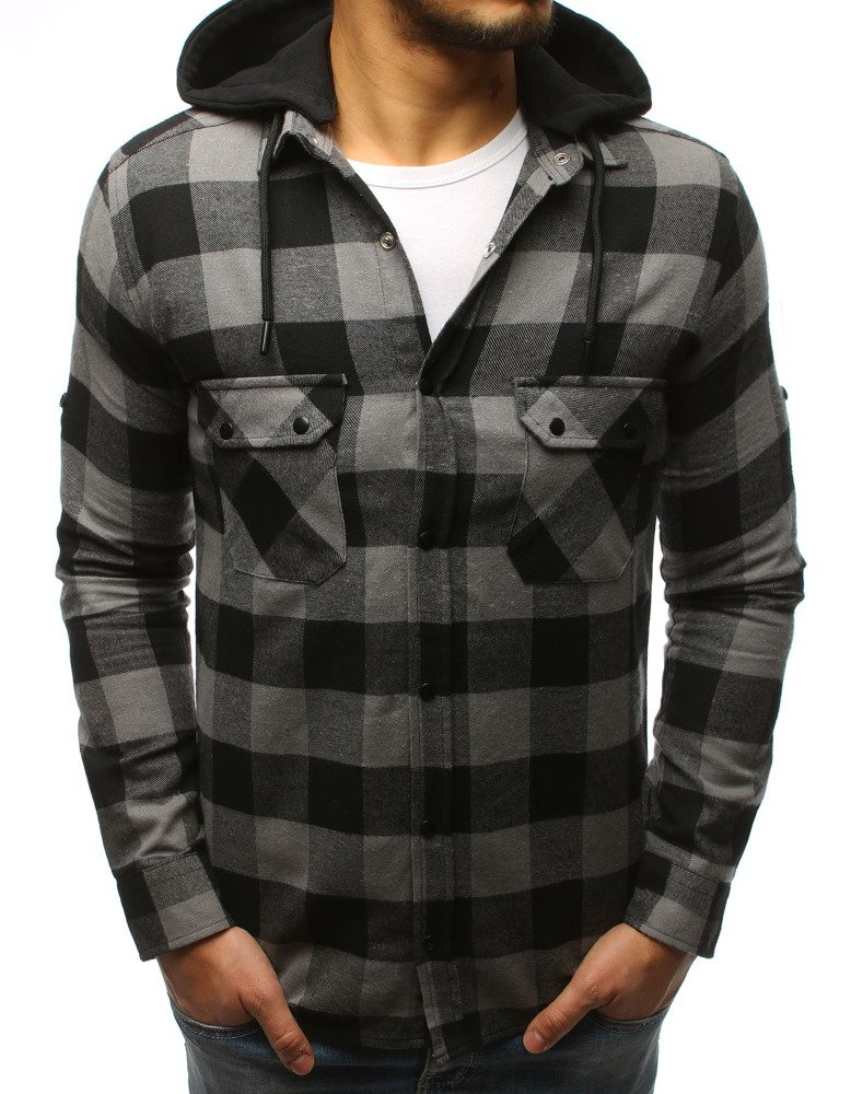 edbcf27a1538 Vyberte variant · Pánska košeľa sivo-čierna