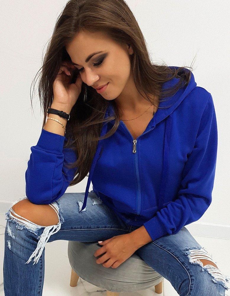 Bluza damska rozpinana z kapturem niebieska BY0230