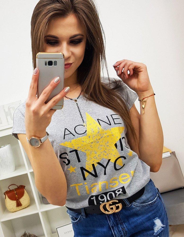 T-shirt damski STAR z nadrukiem jasnoszary Dstreet RY0864