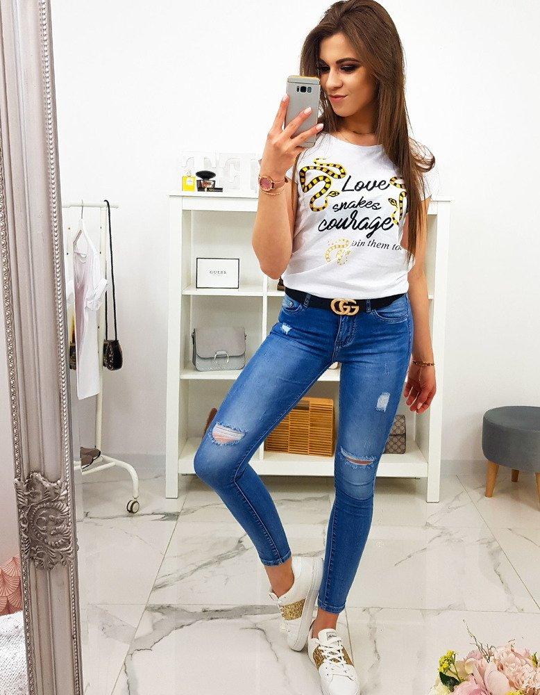 T-shirt damski z nadrukiem biały RY1164